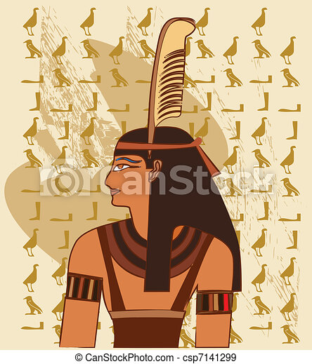 Papyrus with elements of egyptian  - csp7141299
