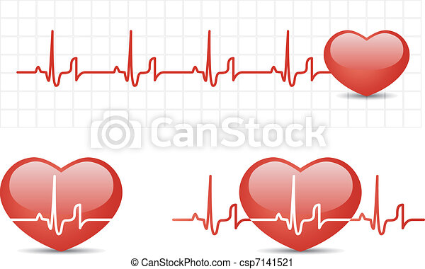 Heart cardiogram with heart - csp7141521