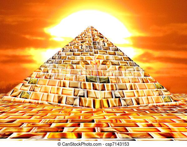 Dessins de pyramide a pyramide par coucher soleil - Dessin de pyramide ...