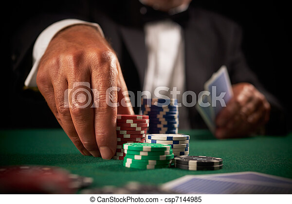 card player gambling casino chips  - csp7144985