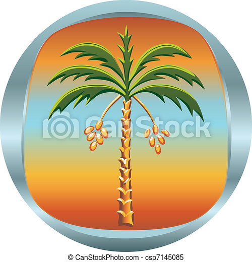 vector metal medallion with the date palm - csp7145085