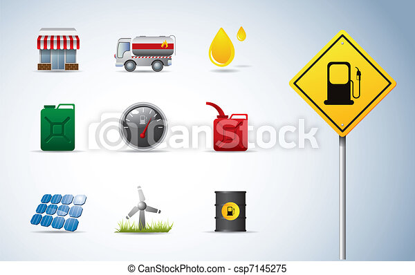 Gasoline, oil and energy icons - csp7145275