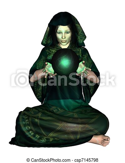 Female Mystic with Crystal Ball - csp7145798