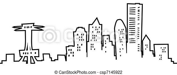Seattle Skyline Outline Drawing Cartoon Seattle Skyline