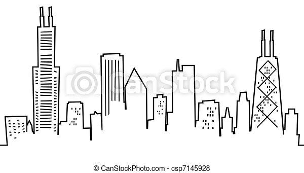 Cartoon Chicago Skyline - csp7145928