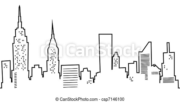 Cartoon New York Skyline - csp7146100