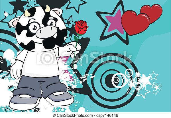 cow kid cartoon background10 - csp7146146