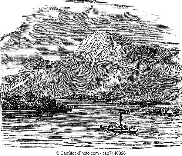 Loch Lomond on Highland Boundary Fault Scotland vintage engraving - csp7146326
