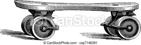 Roller Skate, vintage engraving - csp7146391