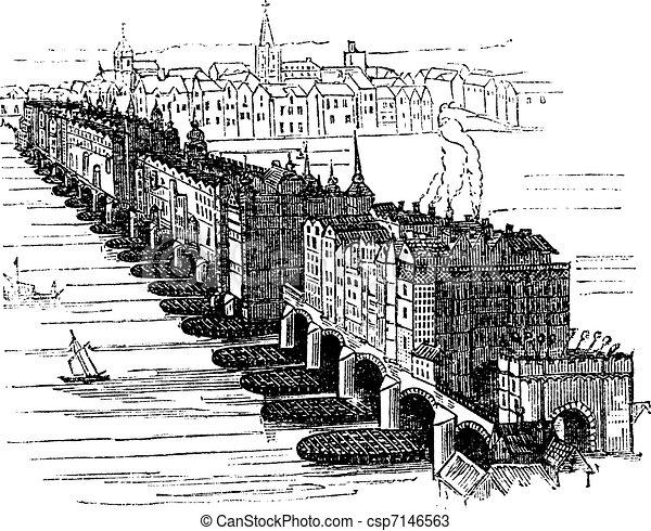 Old Medieval London Bridge, in England, United Kingdom, vintage engraving - csp7146563