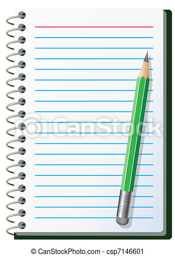 Vector Clip Art of note pad with pencil - vector illustration of ...