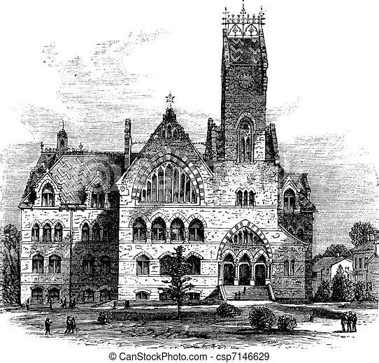 John C. Green School of Science at Princeton University in Princeton New Jersey United States vintage engraving - csp7146629