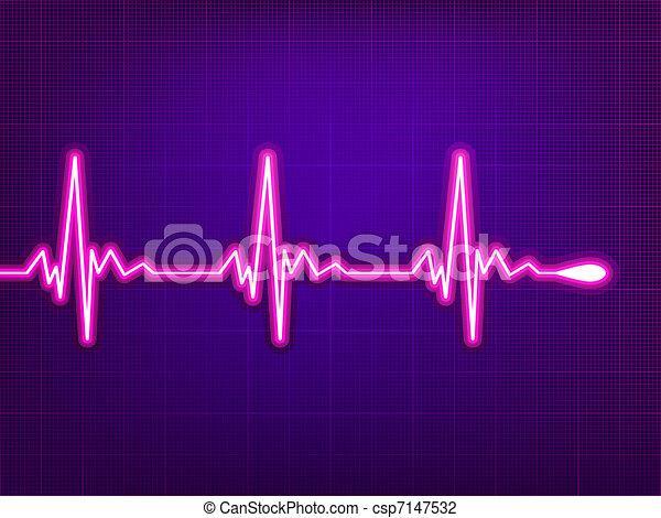 Heart cardiogram on deep fiolet. EPS 8 - csp7147532