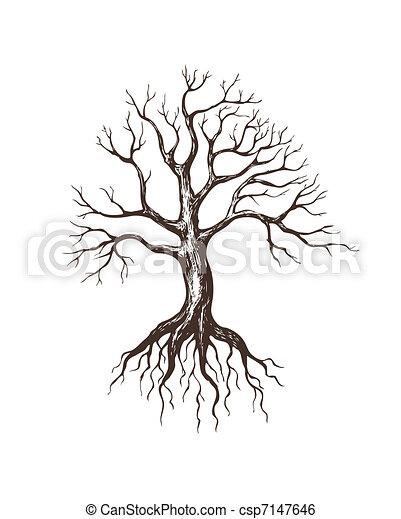 Clip art vecteur de grand sans feuilles arbre illustration de grand sans csp7147646 - Arbre sans racine envahissante ...