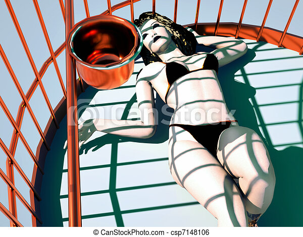 woman lying in a golden cage - csp7148106