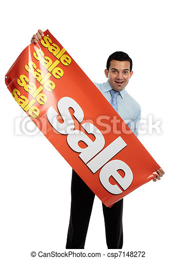 Business or salesman holding Sale Banner - csp7148272