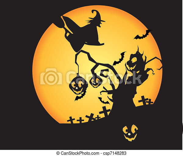 Witch sitting on broom flying, cemeteries and trees in the moonlight is particularly terrorist - csp7148283