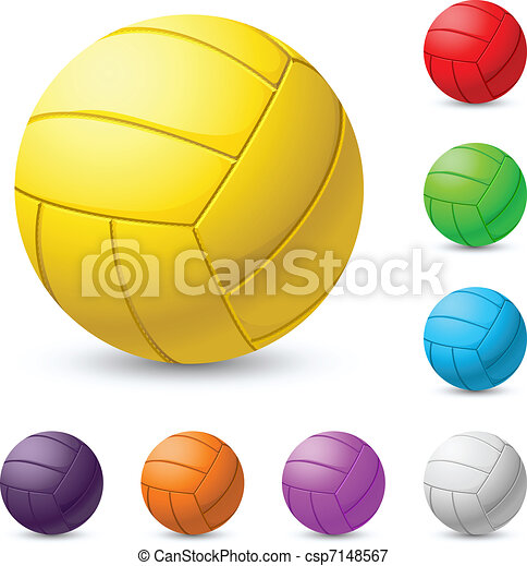 Multi-colored volleyball realiste - csp7148567