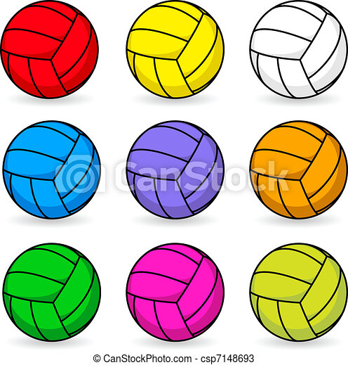 Cartoon volleyball in different colors - csp7148693