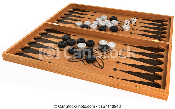 Drawings of Games: backgammon with chips and dice isolated over ...
