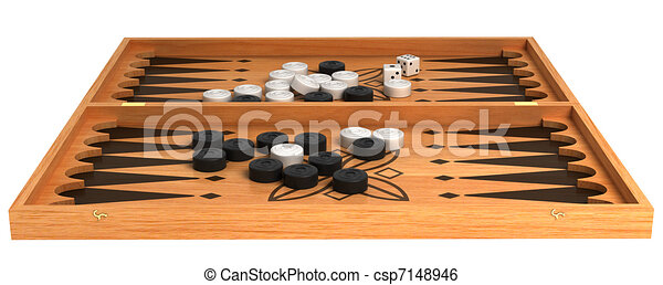 Games: wooden backgammon with chips and dice - csp7148946