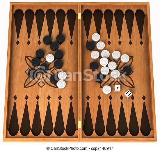 Leisure activity: wooden backgammon isolated - csp7148947