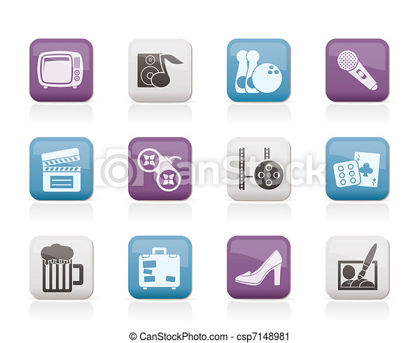 Leisure activity and objects icons  - csp7148981