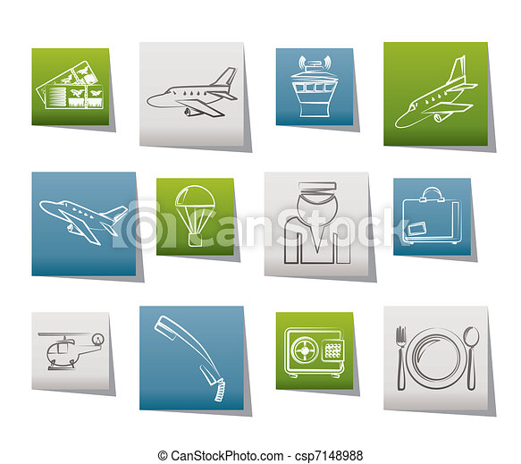 Airport and travel icons - csp7148988