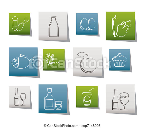 Food, drink and Aliments icons  - csp7148996