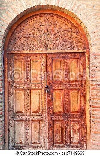 Stock de fotos de georgia viejo de madera doble for Puertas grandes antiguas