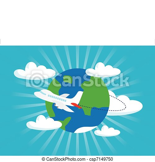 airliner with a globe - csp7149750