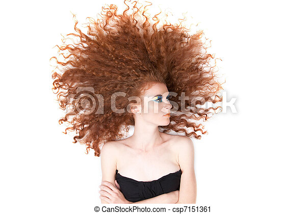 beautiful red hair woman - csp7151361