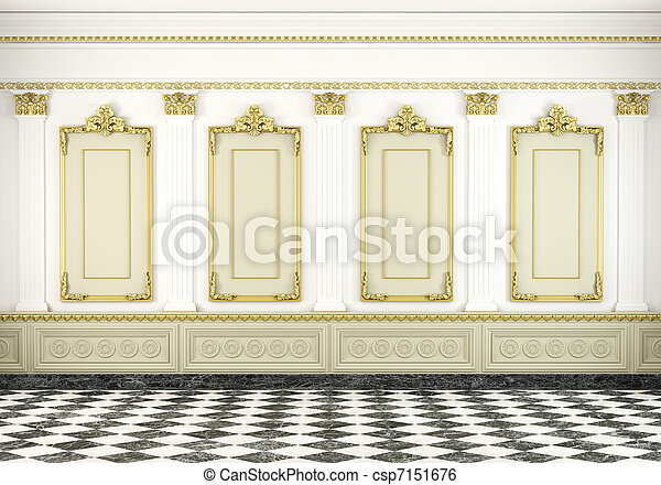 classic wall background with golden molding - csp7151676