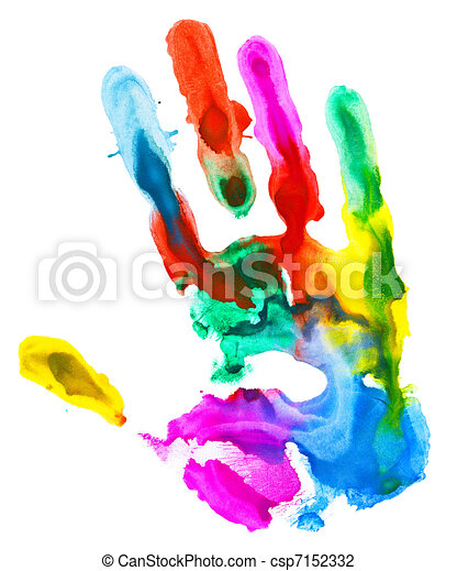 Clip Art of Colored hand print. - Close up of colored hand print ...