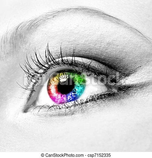 vacker, närbild, ögon,  womanish - csp7152335