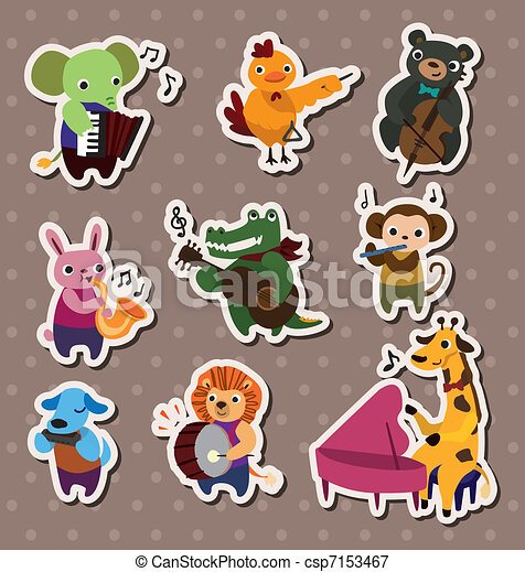 animal play music Stickers, Label - csp7153467