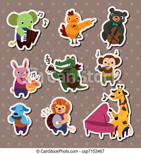 animal play music Stickers,Label - csp7153467