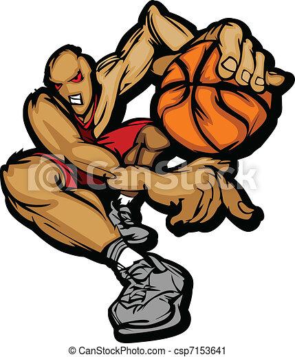 Basketball Player Cartoon Dribbling - csp7153641
