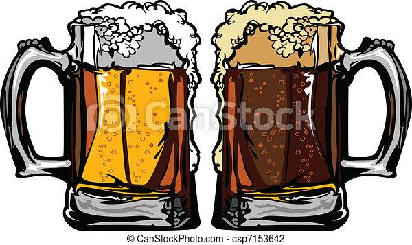 Beer or Root Beer Mugs Vector Image - csp7153642