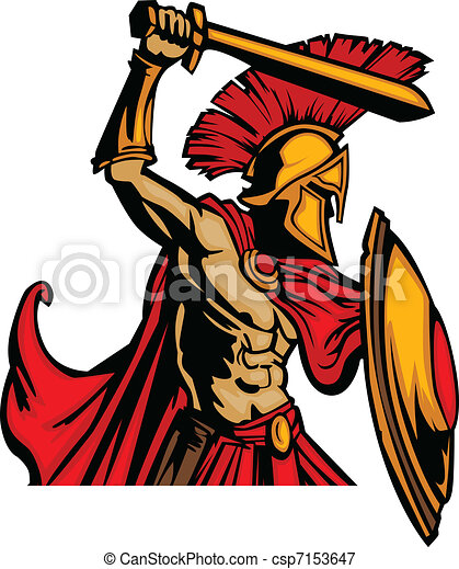 Trojan Mascot Body with Sword and S - csp7153647