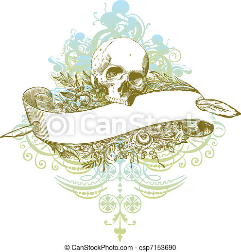Skull banner illustration - csp7153690