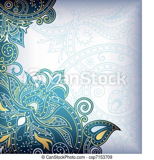 Turquoise Blue Floral  - csp7153709
