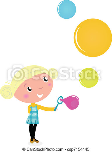 Cute cartoon Child with Colorful Soap Bubbles - vector Illustration.  - csp7154445