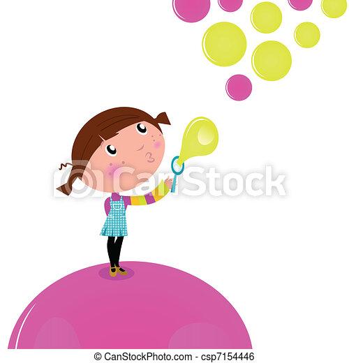 Kid Blowing Soap Bubbles Cute Little Kid Blowing Soap