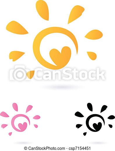 Abstract vector Sun icon with Heart -  orange & pink, isolated o - csp7154451