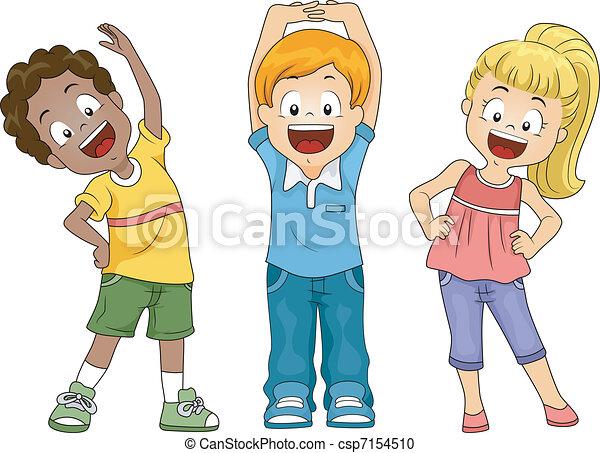 Vector Clipart of Kids Exercise - Illustration of Kids ...