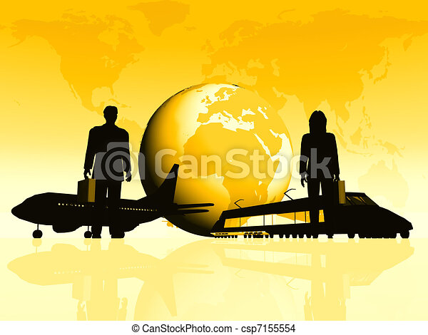 Earth with silhouettes of people and transportation - csp7155554
