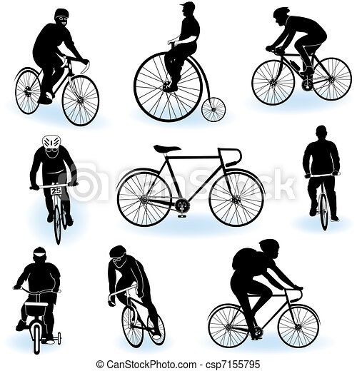 Bicycling silhouettes - csp7155795
