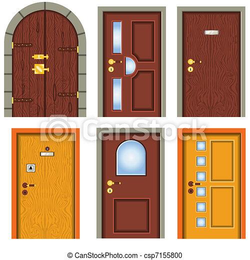 Vector clip art de colecci n de puertas colecci n de - Dibujos de puertas ...