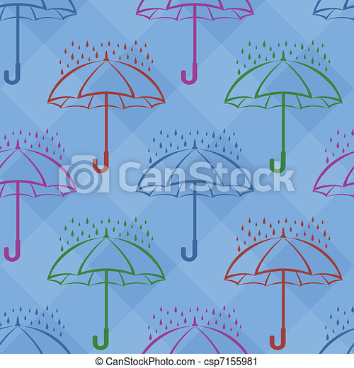 Umbrella under rain, background, seamless - csp7155981